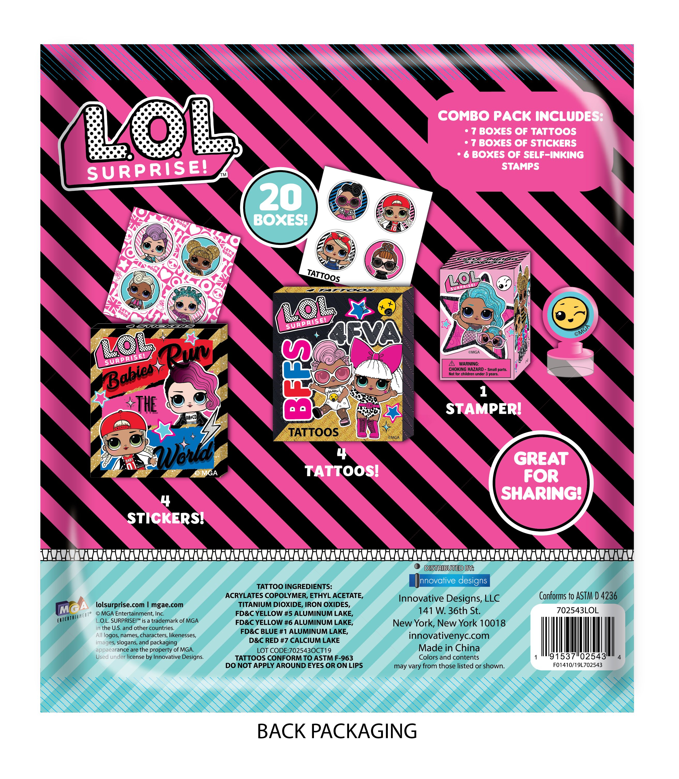LOL Surprise Dolls Valentine's Classroom Stickers Tattoos Stampers 20 Boxes
