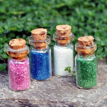 Darice Glass Bottles with Fairy Dust for Miniature Garden, Fairy Garden