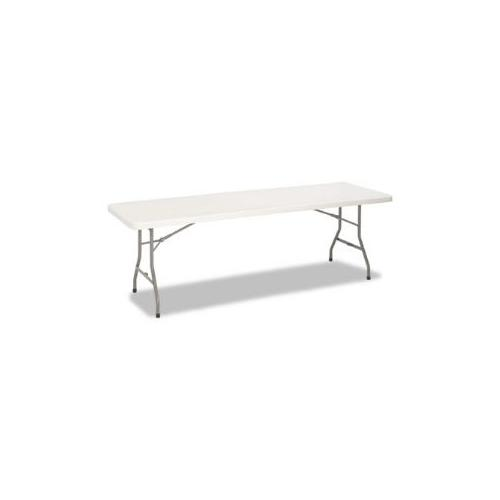 8 Foot Blow Molded Folding Table, 96w x 30d x 29-1/4h, White/Pewter