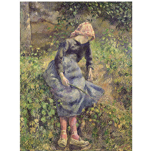 "Trademark Fine Art ""Girl with a Stick 1881"" Canvas Art by Camille Pissarro"
