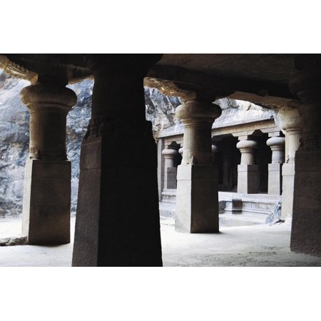 Columns in East Courtyard of Buddhist Temple on Elephanta Island, India, 5th-8th Century Print Wall Art