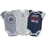 Girls Newborn & Infant Russell Athletic Navy/White/Gray Arizona Wildcats 3-Pack Team Bodysuit Set
