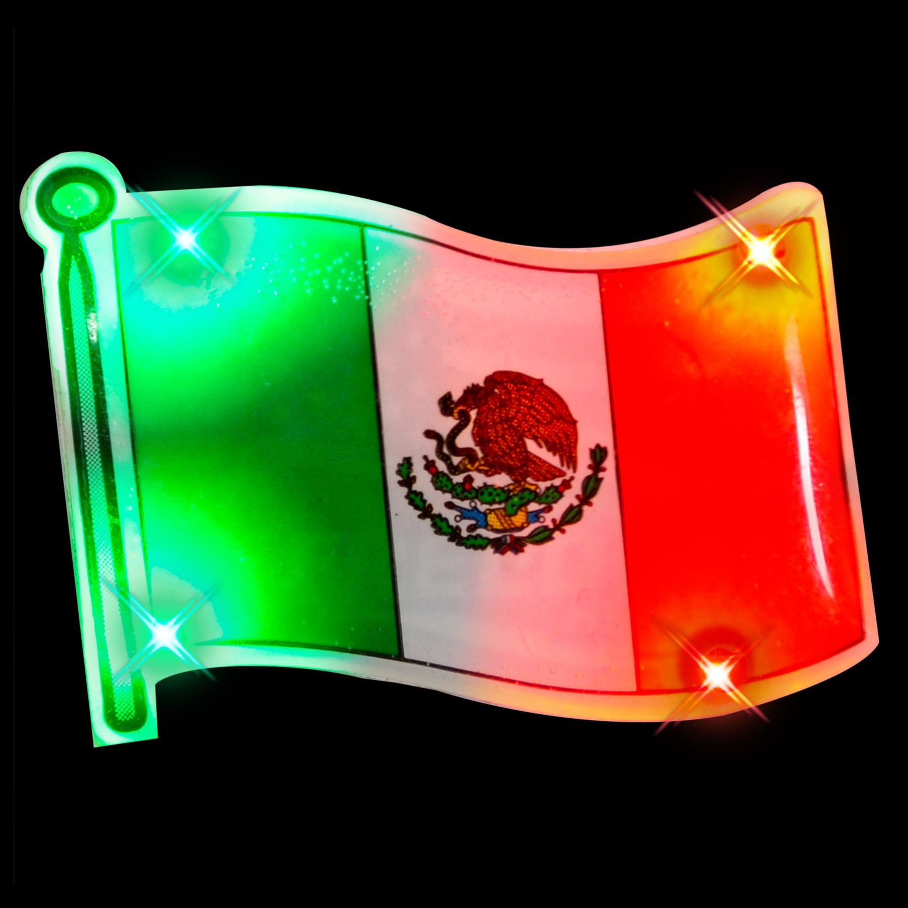 FlashingBlinkyLights Set of 25 Mexican Flag Flashing Pin Body Light Blinkies
