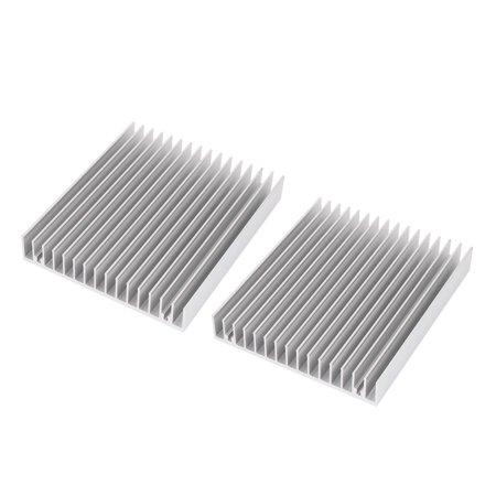 2 Pcs 120x100x18mm Aluminum CPU Heat Sink Heatsink Cooling Fin Silver Tone