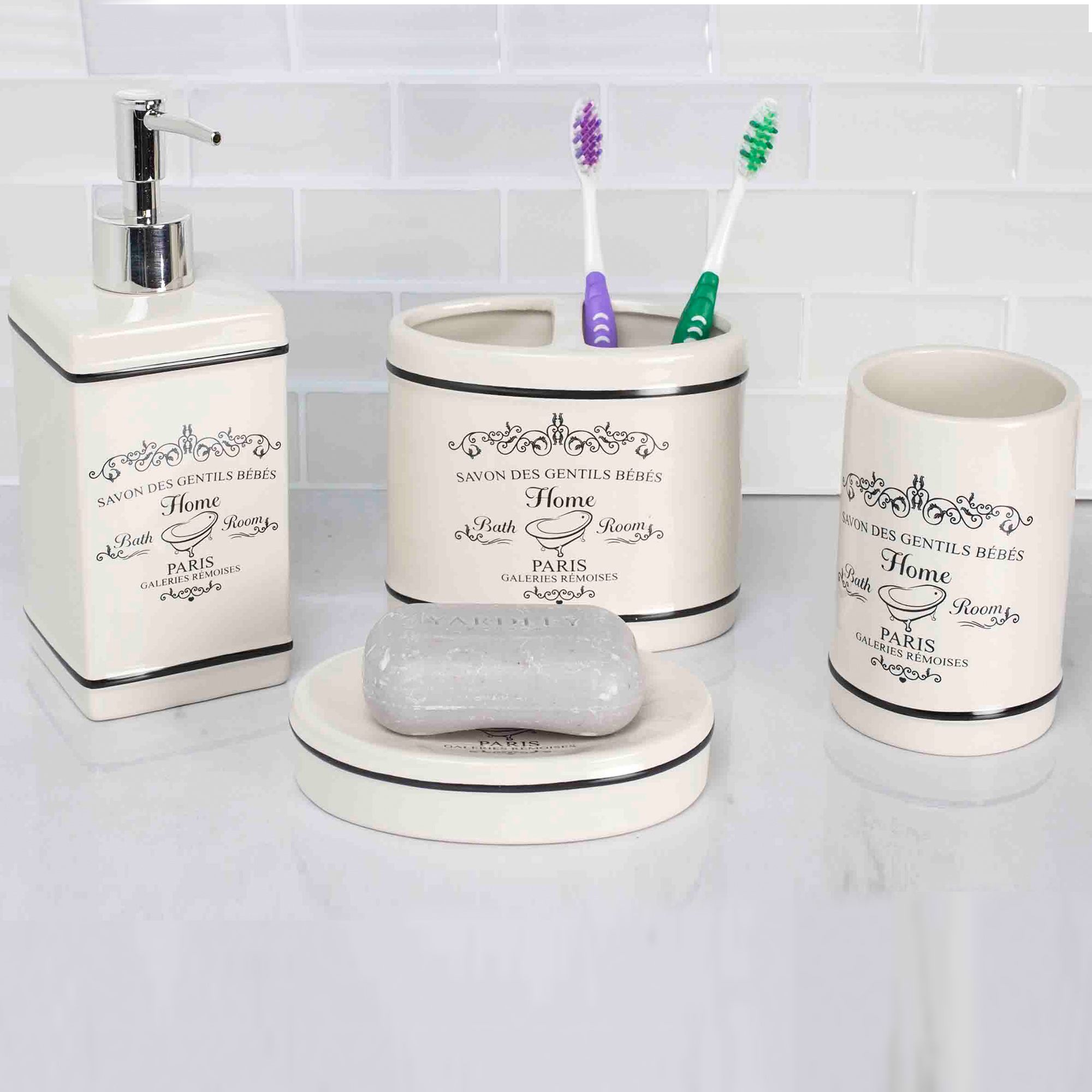 Home Basics Paris White Ceramic Bathroom Accessories 4 Piece Set
