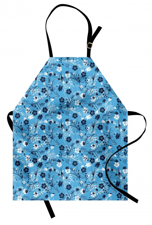 Vintage Baby Bib  Apron Baby Bib Apron  Flowers Floral Blue White  12M 12 Months