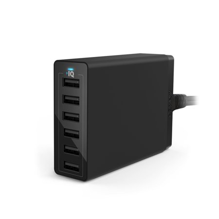 Anker 60W 6 Port Usb Wall Charger  Powerport 6 For Iphone 7   6S   Plus  Ipad Pro   Air 2   Mini Ipod  Galaxy S7   S6   Edge   Plus  Note 5   4  Lg  Nexus  Htc And More