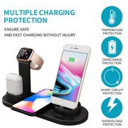 3 in 1 Charging Dock Charger Stand For Apple Watch Series/Air Pods iPhone Station,Black