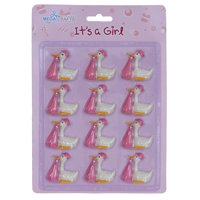 Mega Favors Keepsake Figurine 12 pcs Baby Girl Stork Poly Resin Embellishments | Awesome Decorations or Party Favors | for Pregnancy Announcements, Gender Reveals, Birthday and Special Celebrations