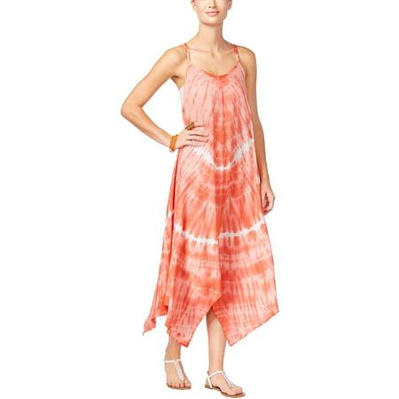 Raviya Tie-Dyed Hankerchief Hem Swimsuit Cover-Up Dress Coral White Medium M