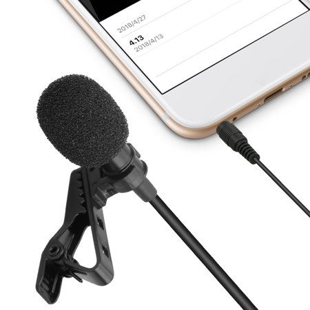 Tie Clip Microphone Lavalier Microphone Mic Clip-on Omnidirectional Condenser Perfect for Recording Youtube/Interview/Video Conference/Podcast/Voice Dictation/iPhone