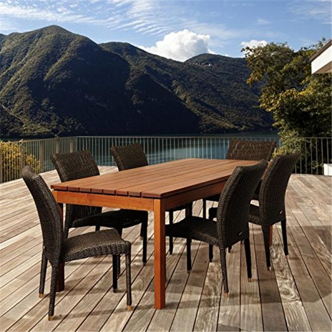 SC ATA-6BARI Jamison 7 Piece Eucalyptus & Wicker Rectangular Patio Dining Set