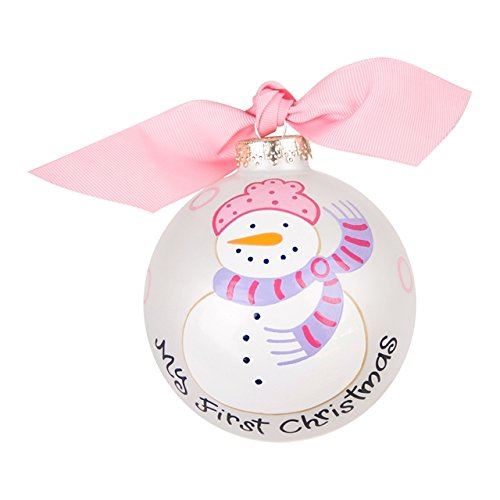 My First Christmas Snowman Girl Glass Ornament