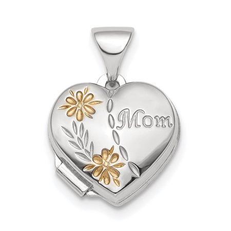 925 Sterling Silver Gold Tone Floral Mom Heart Photo Pendant Charm Locket Chain Necklace That Holds Pictures For Women Gift (Solid White Gold Locket Pendant)