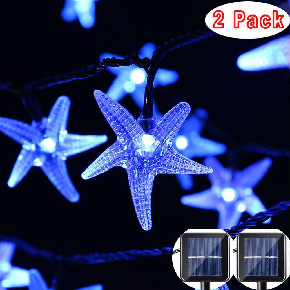 2Pack Qedertek Starfish Solar String Lights Fairy Christmas 30 LED Decorative Lighting for Outdoor Decorative Gardens Lawn,Patio,Christmas Trees,Weddings Use(Blue)