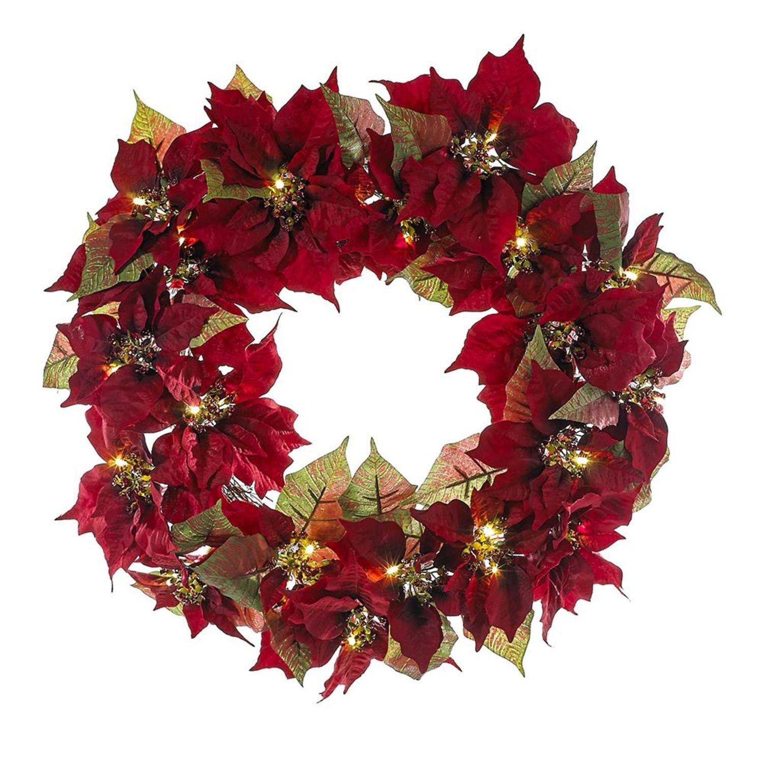 "24"" Red and Green Pre-Lit Poinsettia Decorative Indoor/Outdoor Wreath"