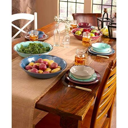 Non Skid Foam Dinnerware Bowl (Rustic Melamine Dinnerware or Bowls Blueberry, Melon, Plum 12 Pc Dinnerware Set (Melon Oversized Serving Bowl) )