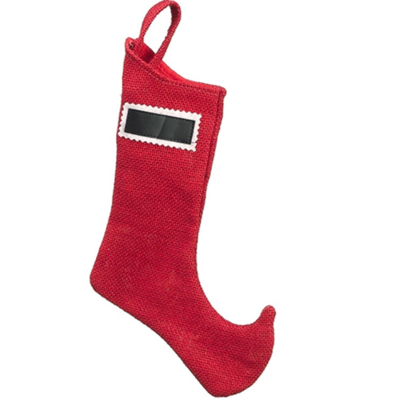 "22"" Country Cabin Decorative Cardinal Red Burlap Christmas Stocking"