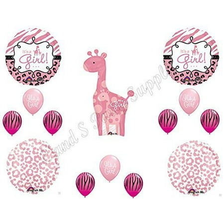 IT'S A GIRL Giraffe Zebra Cheetah Baby Shower Balloons Decoration Supplies Pink by Anagram