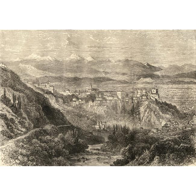 The Alhambra & General View of Granada Spain Poster Print, Large - 34 x 24 - image 1 of 1