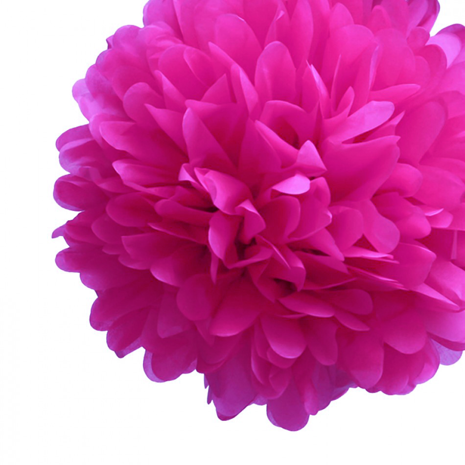 Quasimoon EZ-FLUFF 8'' Fuchsia Tissue Paper Pom Pom Flowers, Hanging Decorations (4 Pack) by PaperLanternStore