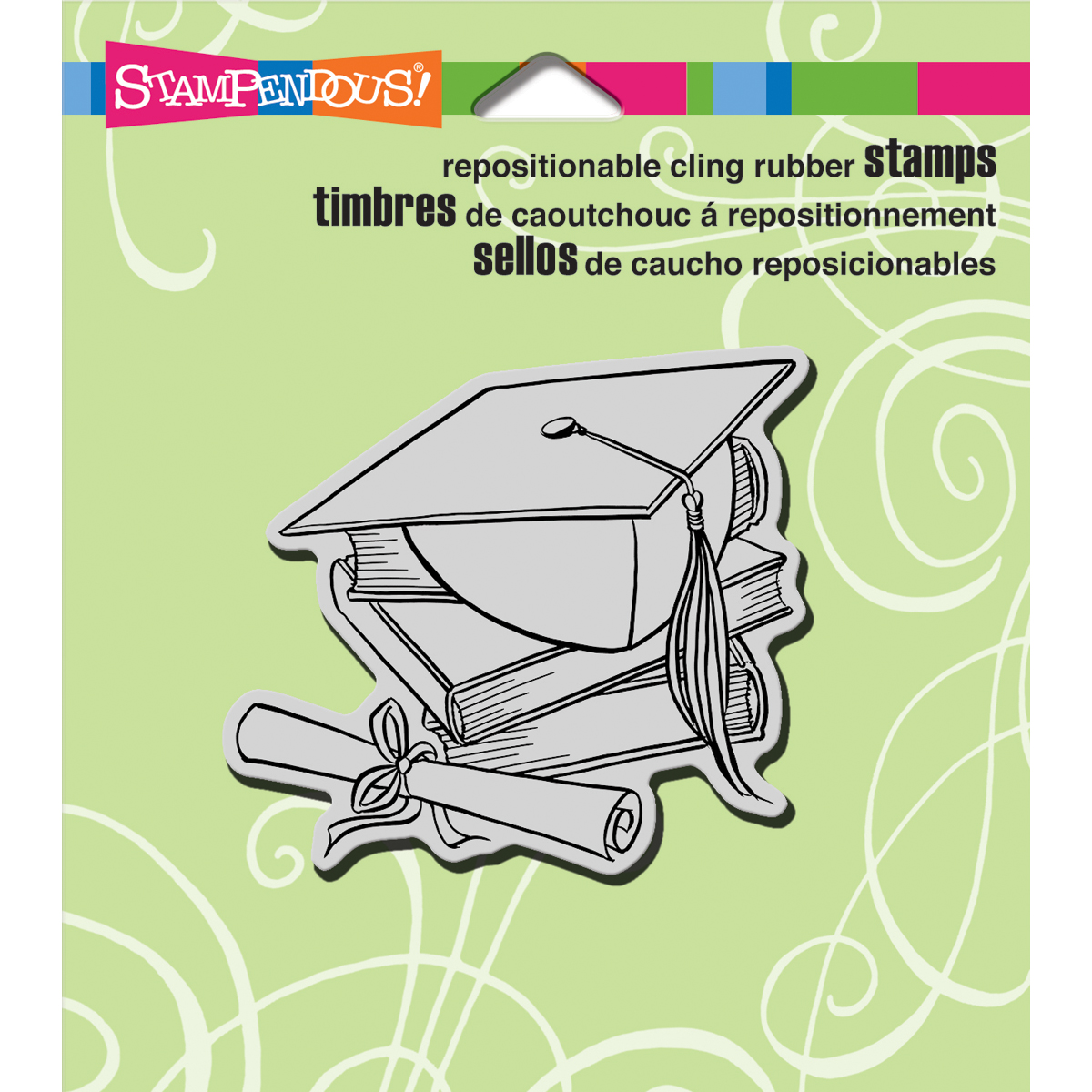 Stampendous Cling Stamp -Cap & Scroll