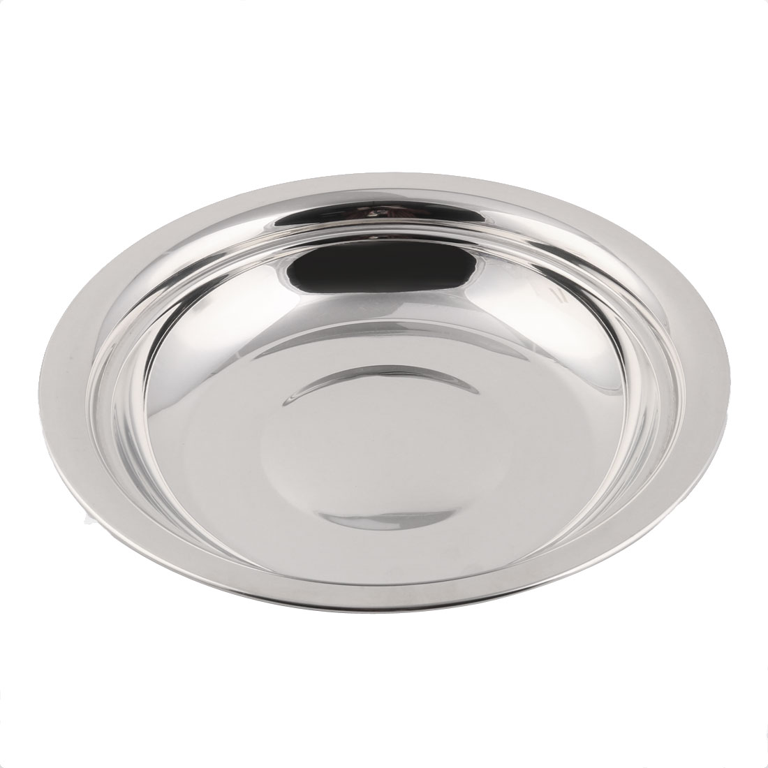Home Kitchen Metal Round Shaped Food Nut Container Holder Plate Tray Silver Tone - image 2 of 2