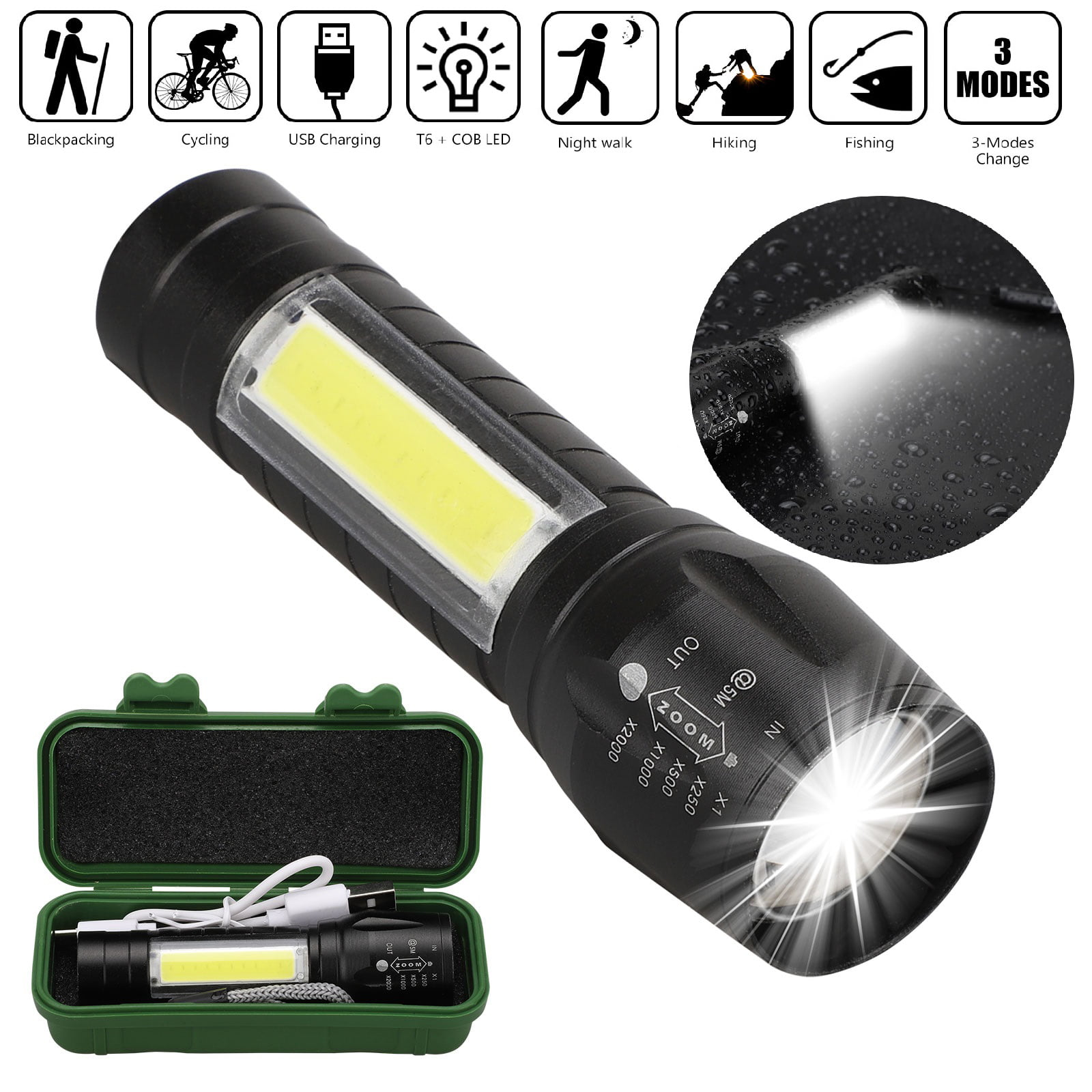 LED Torch USB Rechargeable Small Flashlight Zoomable Camping Electric Torch