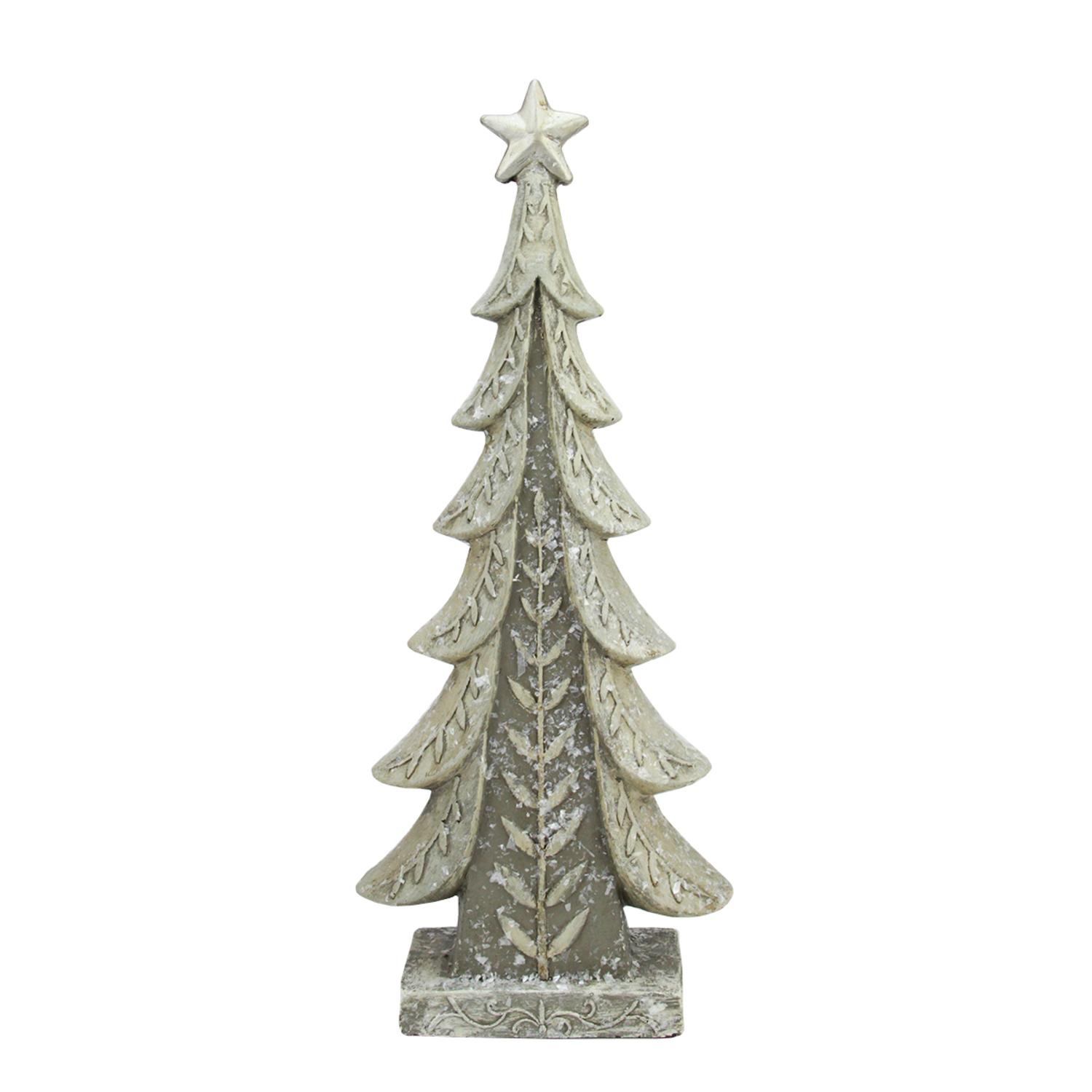 """17.5"""" Vintage Inspired Distressed Cream and Taupe Christmas Tree Table Top Decoration"""