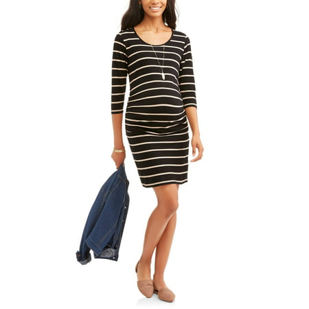 (Oh! Mamma Maternity 3/4 Sleeve Scoop Neck Dress With Flattering Side Ruching--Available In Plus Size)