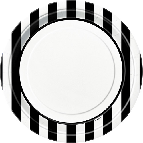 """8 x Black /& White Stripe 9/"""" Paper Plates Adults Party Tableware Supplies Striped"""