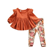 6M-5Y Toddler Baby Kid Girls Flower Clothing Set Autumn Long Sleeve Ruffles Tops + Floral Pants Outfits