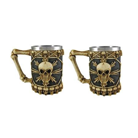 Ossuary Skull Beer Stein Set of 2 Tankard Skulls Halloween - image 3 de 3