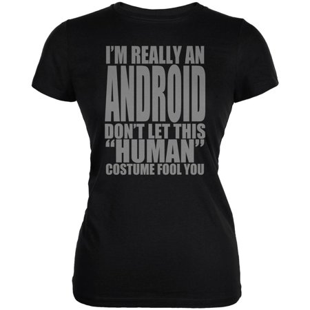 Halloween Human Android Costume Juniors Soft T Shirt - Android Halloween