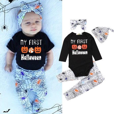 Newborn My First Halloween Baby Boy Girls Long Sleeve Tops + Spider Web Pants Headband Hat Outfits Set - Newborn First Halloween