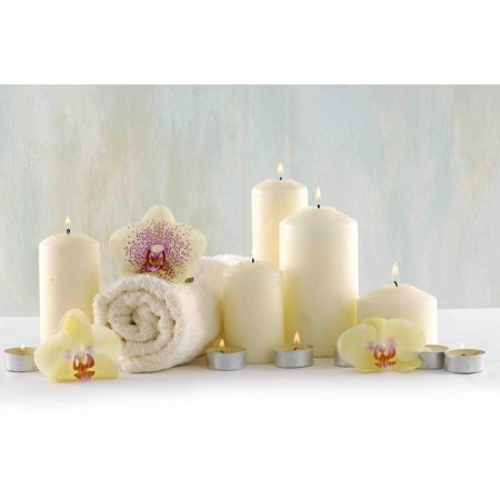 Orchid Spa (LED Lighted Candle Orchid Spa Inspired Canvas Wall Art 11.75