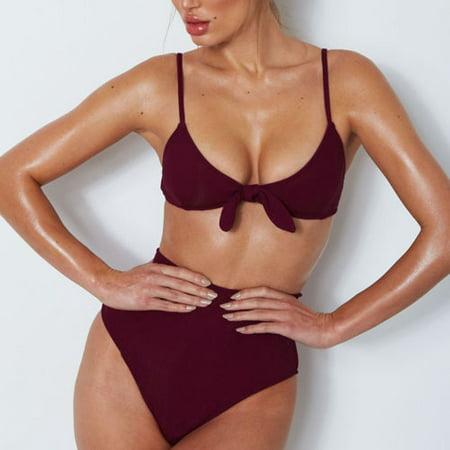 51c6aed5c2c UKAP - Womens Brazilian Sexy Bikini Tie Knot Front High Waist Thong Bandage  Sets Beachwear Two Piece Push-Up Padded Swimwear Swimsuit Bandage Bathing  Suit ...