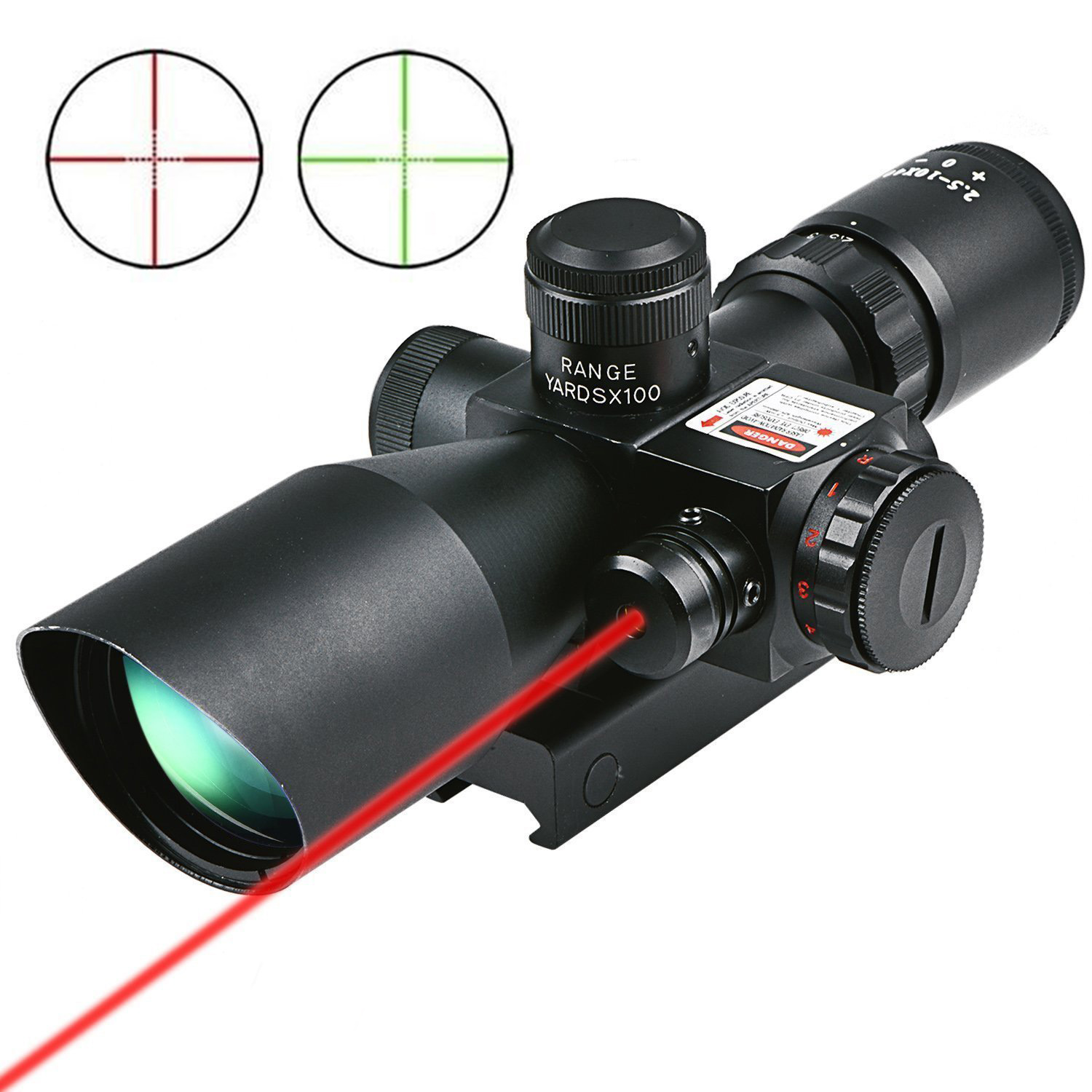 Cvlife Hunting Rifle Scope 2.5-10x40 e Red & Green Crosshair Illuminated Gun Scopes with Red Laser w  20mm & 11mm Mount by Cvlife