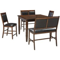 Ashley Furniture Meredy 5 Piece Counter Height Dining Table Set in Brown