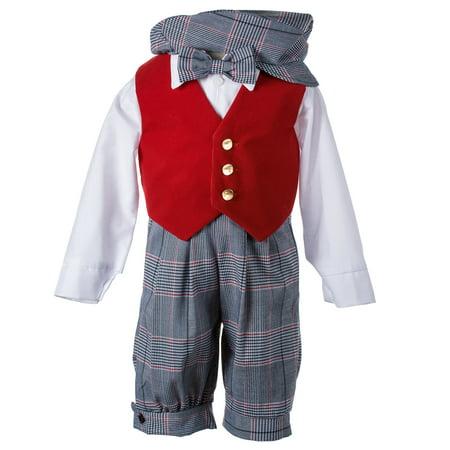 Boys Velvet - Holiday Checkered Knicker Set with Red Velvet Vest