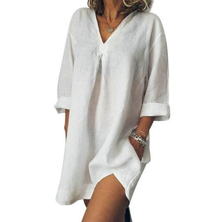 LoveVkk Women's Plus Size Long Sleeve V Neck Solid Color Irregular (Long Sleeve V Neck Dress Plus Size)