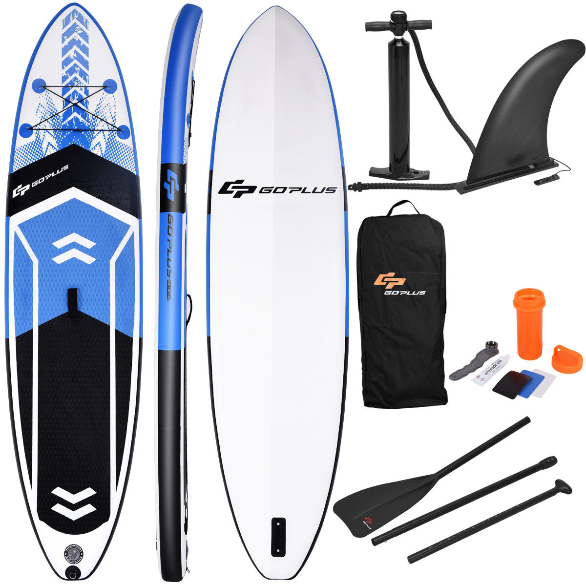 Click here to buy Goplus 10.5' Inflatable Stand Up Paddle Board SUP W  Fin Adjustable Paddle Backpack by Costway.