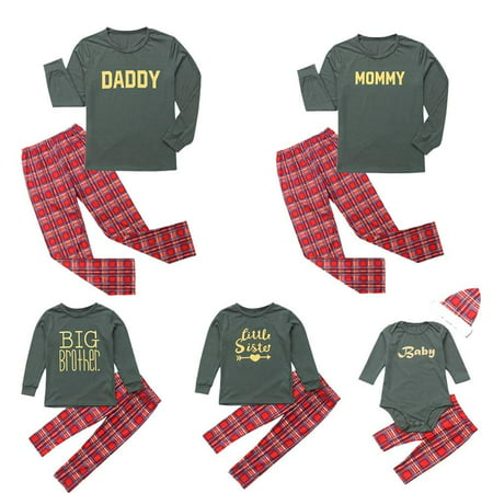 Christmas Family Matching Sleepwear Letters Print Pajamas Set Couples Pajamas (Christmas Jammies Halloween)