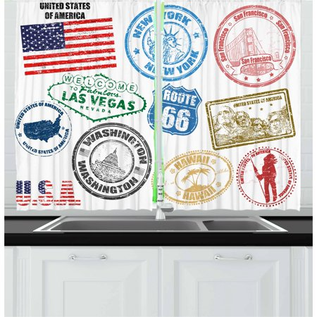 United States Curtains 2 Panels Set, Grunge Stamps of America Las Vegas New York San Francisco Hawaii Illustration, Window Drapes for Living Room Bedroom, 55W X 39L Inches, Multicolor, by Ambesonne ()
