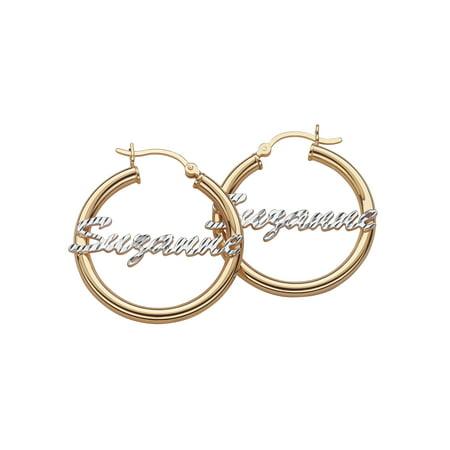 Personalized Sterling Silver Diamond Cut Name 2 Tone Hoop Earrings, 32 mm