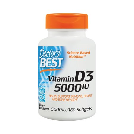Doctor's Best Vitamin D3 5000IU, Non-GMO, Gluten Free, Soy Free, Regulates Immune Function, Supports Healthy Bones, 180