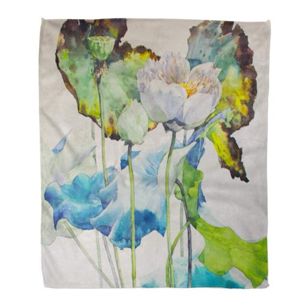 ASHLEIGH Flannel Throw Blanket Blossom Colorful Beautiful Lotus Watercolor Green Beauty Botany Floral Soft for Bed Sofa and Couch 58x80 (Lotus Blossom Light)