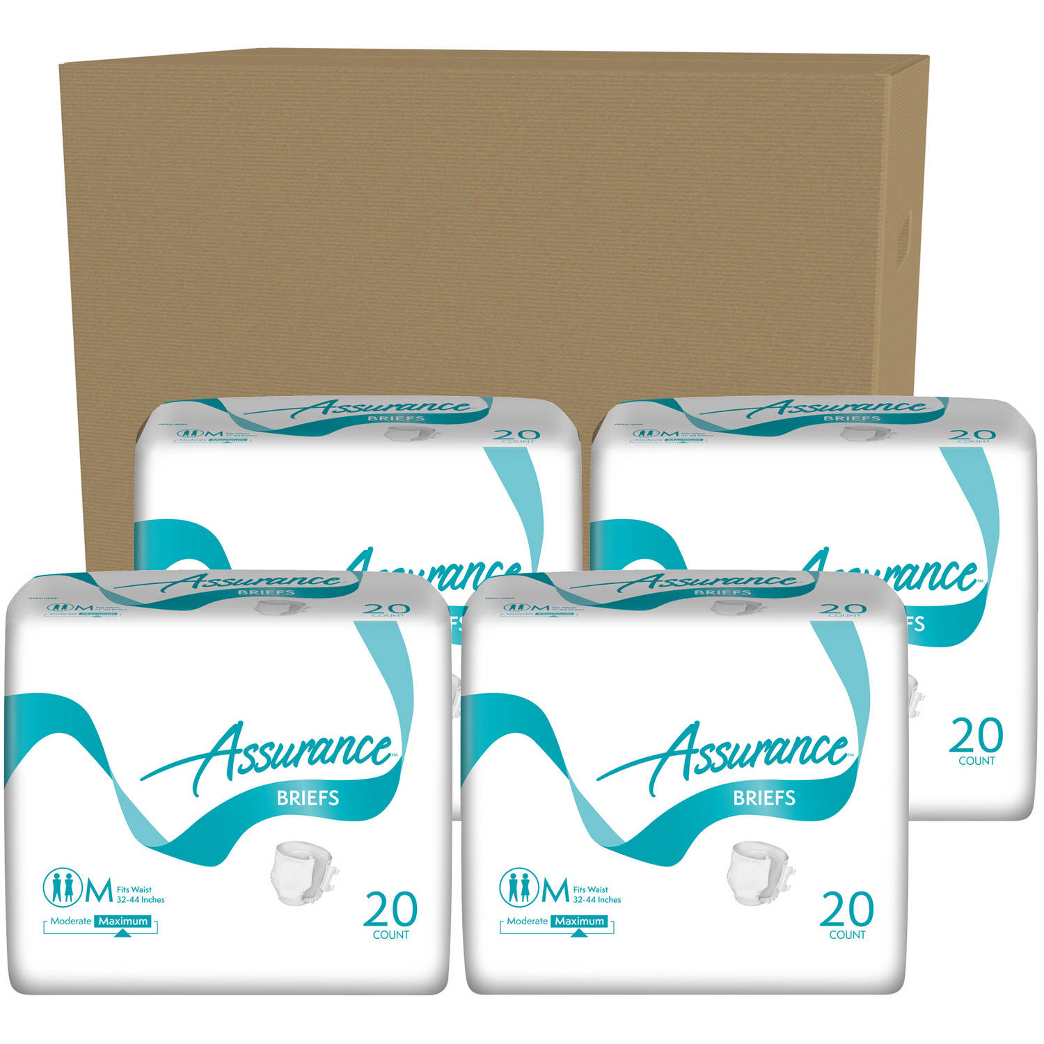 Assurance Maximum Absorbency Briefs, Medium, 20 count, (Pack of 4)