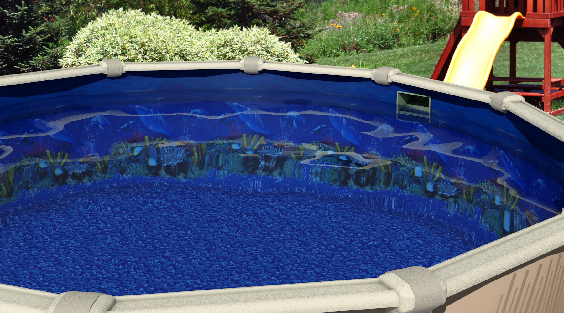 24-Foot Round Overlap Antilles Dolphin Above Ground Swimming Pool Liner -  48-Inch-or-52-Inch Wall Height - 25 Gauge