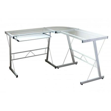 l shape corner computer desk glass laptop table workstation home office. Black Bedroom Furniture Sets. Home Design Ideas